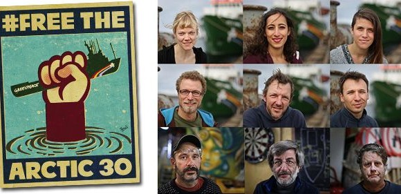 A tripulacións do buque de Greenpeace «Arctic Sunrise»